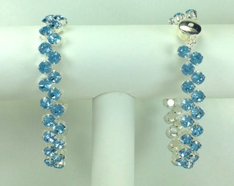 Aquamarine Redbud Bracelet - Swarovski Crystals, Magnetic Clasp, Silver Plate