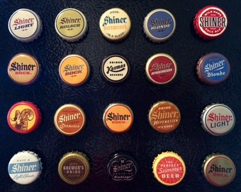 Shiner Beer Assorted Bottle Cap Magnets Set of 20 Some are Vintage