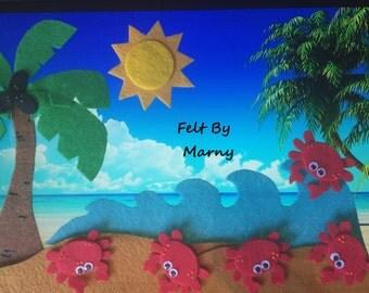 5 Little Crabs // Ocean/Beach/Fish Felt board story // Flannel Board story // Songs and Rhymes // Preschool // Toddler // ECE // Summertime