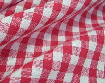 cotton fabric woven check red white 1cm France