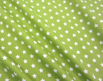 cotton fabric stars green/May green white 9mm