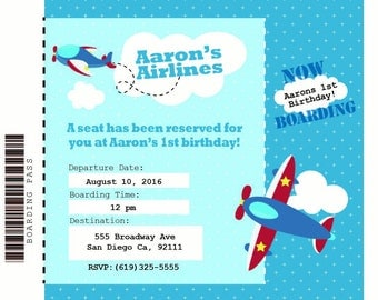 5x7 Double sided Airplane theme Invitation FREE SHIPPING