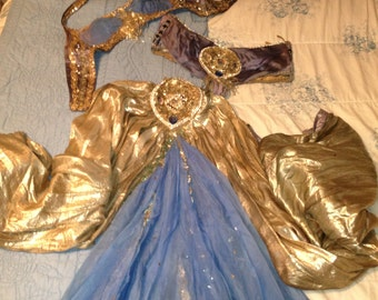 20s Vaudeville Burlesque Estate Sale 3 piece blue silk gemstone encrusted vintage one of a kind handmade costume.