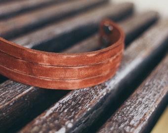Genuine leather bracelet leather cuff bracelet 2 straps brown