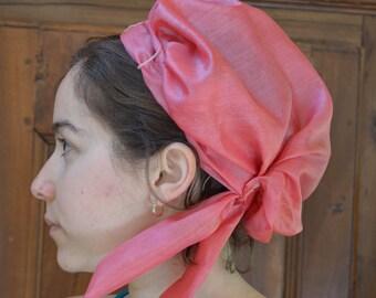Regency Turban in Pink Vintage Silk