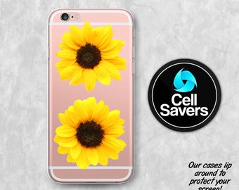 Sunflower Clear iPhone 7 + iPhone 6s Case iPhone 6 iPhone 6 Plus iPhone 6s Plus iPhone 5c iPhone 5 SE Clear Case Yellow Flower Tumblr Cute