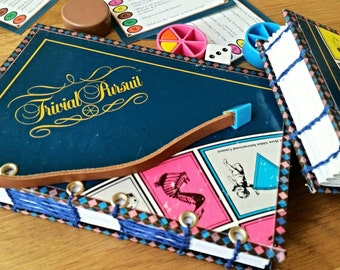 TRIVIAL PURSUIT book journal, gift for men, Father's day gift, quizzer notebook, pub quiz notebook, repurposed journal,coptic journal