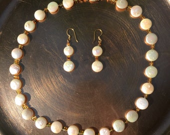 White Freshwater Coin Pearl Necklace and Earrings Set, Natural Tundu Saphire Untreated,  Freshwater Coin Pearl Necklace, 10mm  Coin Pearls
