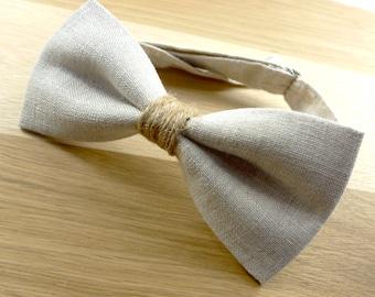 Mens Bowtie in Natural Linen, Linen Bow Tie, Beige Bow Tie, Groomsmen Bow Tie, Wedding Bowties, Rustic Wedding