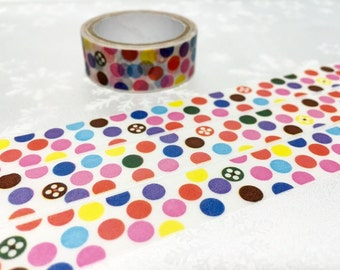 Colorful polka dots Washi Masking tape 10M colorful dots cute circle deco sticker tape removable adhesive tape scrapbook gift