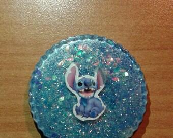 Resin pendant Stitch blue with glitter