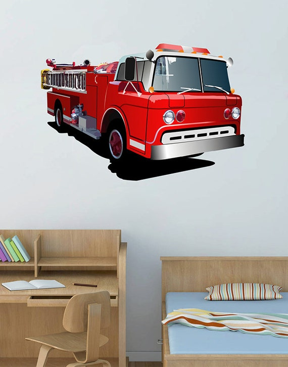 full color wall decal fire truck transport bedroom children 39 s room