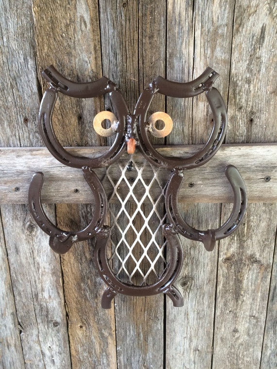 Items similar to hoot owl with hooks made from repurposed for Things made from horseshoes
