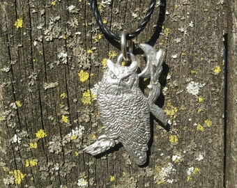 Great Horned Owl w/ Moon Pendant Necklace