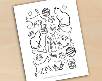 Crazy Cat Lady Humor Coloring Page Cats Kittens Paw Prints Yarn Robe Slippers Printable Instant Download DIY
