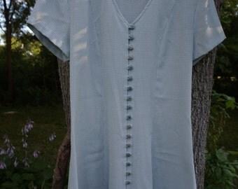 Vtg 80's Flirty Baby Doll Dress ~ Green & White Check Pattern ~ Gingham Size 5