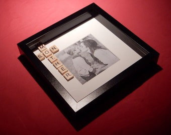 Mother and Son Scrabble Art Picture Photo Frame. Mother's Day or Birthday.