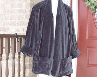 Vintage Grey Cotton Velvet Swing Coat