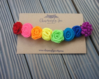 Rainbow Felt Flower Crown, Rainbow headband, rainbow flowers, neon flower headband, felt flower crown, toddler flower crown, adult headband