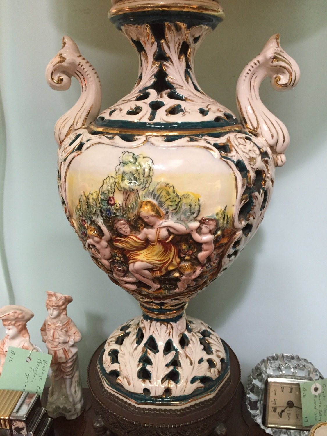 Pair of Vintage Porcelain Capodimonte Lamps-Italy