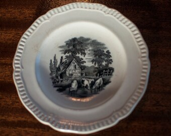 Rare Bread Plate | W T Copeland and Sons - Stoke on Trent | Spode | Victorian | Black Transferware - Rare!