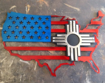 All steel USA/Zia flag
