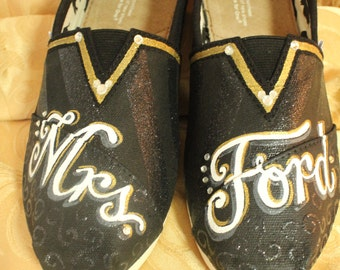 Custom Hand Painted Toms Wedding Shoes, Hand Painted Wedding Shoes, Hand Painted Wedding Toms, Custom Painted Wedding Shoes, Custom Toms