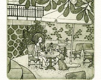 Illustration, Art Print, Poodle, Home decor, Children, Fine art, Etching, Limited edition,  Printmaking, Paris Sketch - Summer Corner