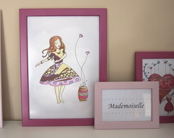 Illustration Miss April, poster print, decoration