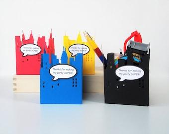 Superhero Favor Box, Superhero Party Favors, Skyline Party Favor Box, Superhero Birthday, Superhero Baby Shower, Superhero Party Supplies, 8