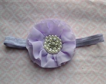 Lavender baby headband, Light purple chiffon jeweled baby headband, infant headband, toddler headband, newbon headband