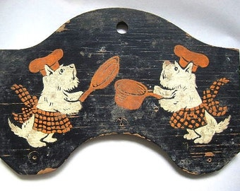 Vintage Painted Wooden Plaque Kitchen Scotties Scotty Dog Chefs in Aprons