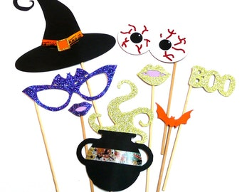 Photo Booth Props - 8PC Witches Cauldron Halloween Party Photo Booth Props