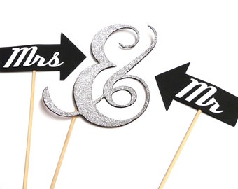 Photo Booth Props - Set of 3 Wedding Mr & Mrs Ampersand Glitter Silver Photo Booth Props