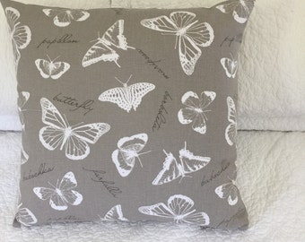 """Butterfly White on Taupe background cushion cover- 45 x 45 cm (18 x 18"""")"""