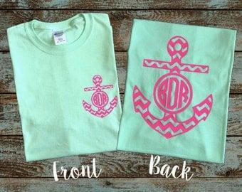 Monogrammed Anchor, Summer Shirt, Initials, Personalized, Chevron Anchor