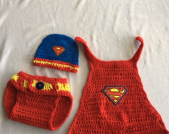 Crocheted Super Man Baby Costume!  Great for Photo Prop!