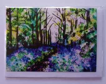 Bluebells, Balmerino Woods, Fife Greetings Card (Small)