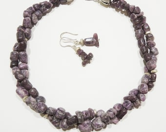 SET one of a kind, unique jewelry Ruby row gemstone necklace & earrings with 925 sterling silver