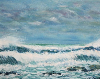 1985 oil painting impressionist seascape signed