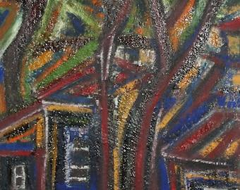 Vintage Avant Garde landscape oil painting