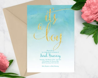 Printable Baby Shower Invitation | Baby Shower Invite | DIY Printable | Blue Gitter Baby Boy