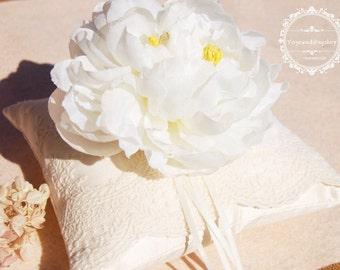 Silk Wedding ring pillow. Beautiful big flower wedding ring pillow. Ivory cotton lace ring bearer pillow,silk ring pillow
