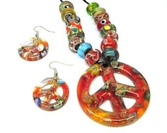 Red Glass Pendant Necklace Earring Set Bead Murano Lampwork Peace Sign Hippie Coachella 100U