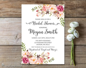 Bridal Shower Invitation, Floral Bridal Shower Invitation, PERSONALIZED, Digital File