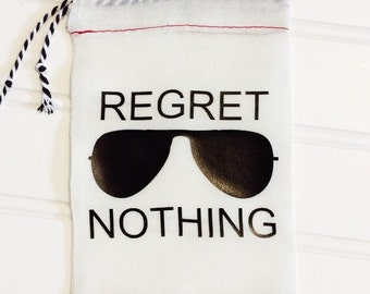 4x6 Regret Nothing Hangover Kit Bag With Sunglasses