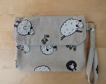 Quirky Sheep Clutch Bag, Wristlet, Purse, Pouch, Phone Wallet
