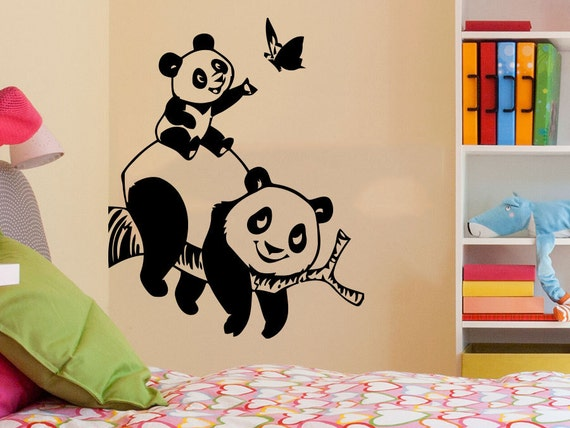 Panda bear wall decals animals vinyl sticker living room decor for Panda bear decor