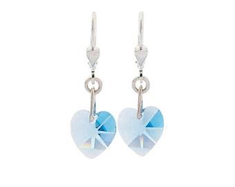 SWAROVSKI Mini Heart Sterling Silver Earrings in Aqua Blue