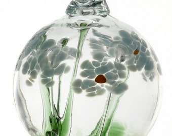 "Kitras Blossom Ball Hand Blown Art Glass- MEMORIES- 2.5"" (blos-02-me)"